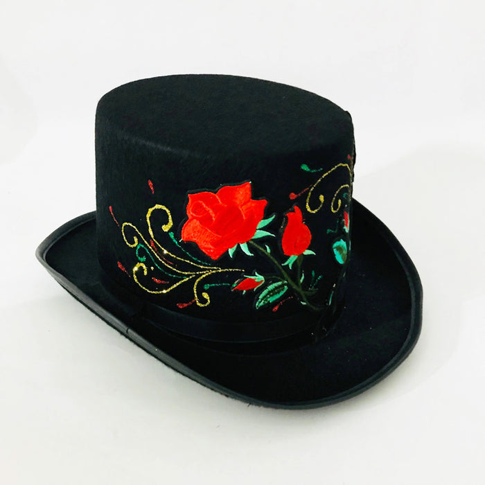 Top hat with Embroidered Roses