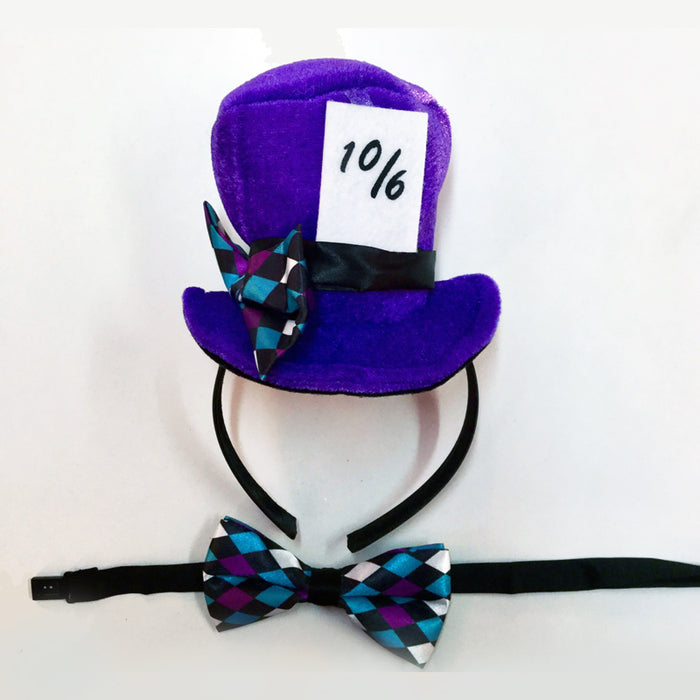 Mini Mad Hatter Hat and Bow Tie Set