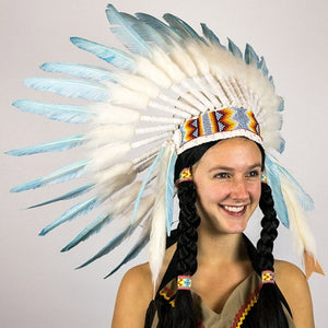 Indian Small Turquoise Feather Headdress