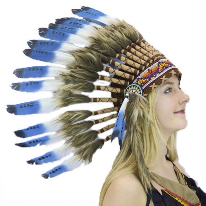 Indian Small Blue Tip Feather Headdress