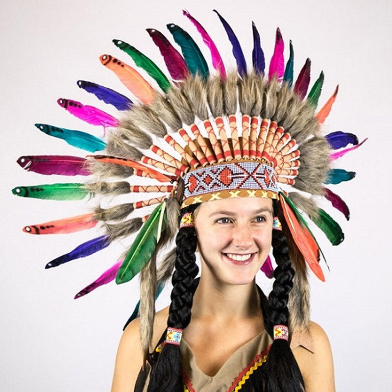 Indian Small Rainbow Feather Headdress