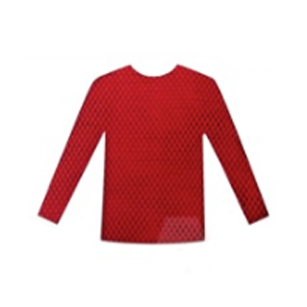 Fishnet Top Long Sleeve - Red
