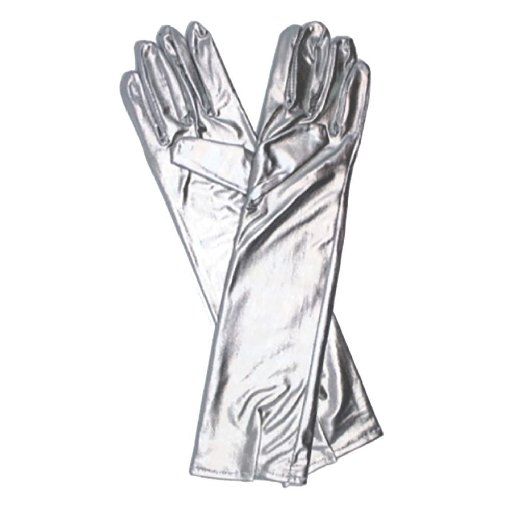 Metallic Glove Long Silver
