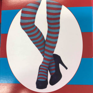 Red and Blue Stripe Stockings - Womens