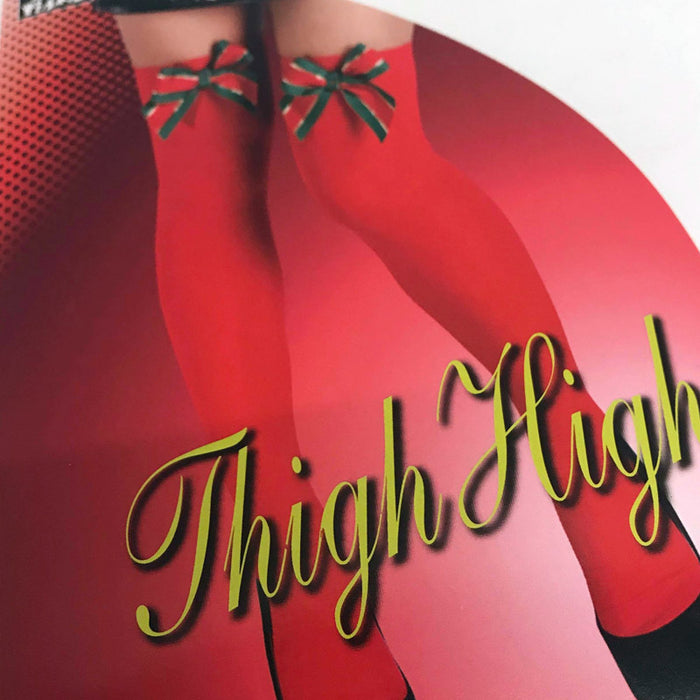 Red Thigh High Stockings with Bows