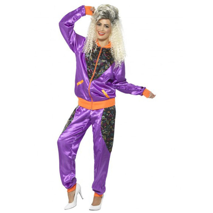1980's Women's Shell Suit Costume - Purple