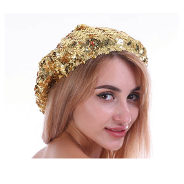 Disco 70's Sequin Beret Gold