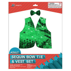 Sequin Bow Tie & Vest Set Green