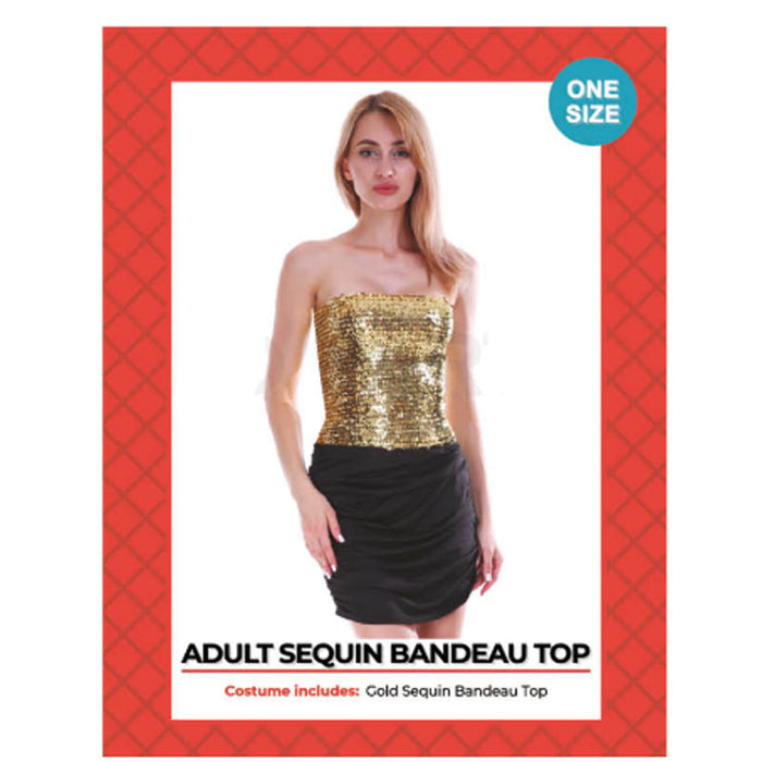 Disco Sequin Bandeau Tube Top Gold