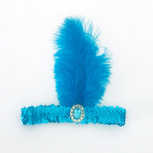 Sequin Flapper Headband - Light Blue
