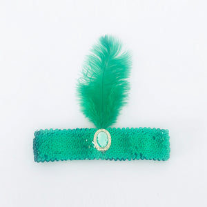 Sequin Flapper Headband - Emerald Green