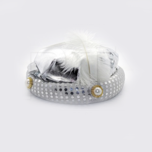 Silver Hat with White Feather