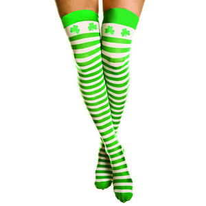 Stockings Striped Green & White With Shamrocks