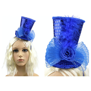 Mini Top Hat Headband Blue