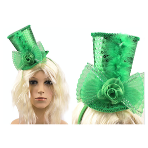 Mini Top Hat Headband Green
