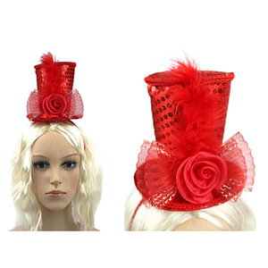 Mini Top Hat Headband Red