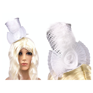 Mini Top Hat Headband White