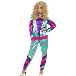 80s Women's Shell Suit Costume - Teal