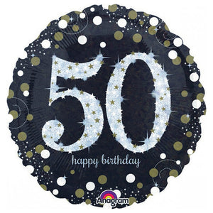 Holographic Sparkling Birthday 50 Balloon