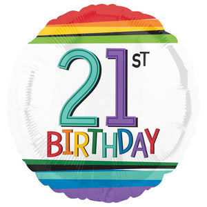 Rainbow Birthday 21 Balloon