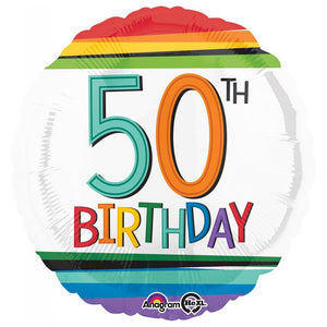 Rainbow Birthday 50 Balloon