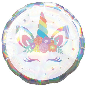 Supershape Holographic Unicorn Party Iridescent Balloon