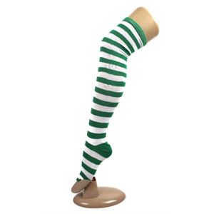 Over The Knee Socks - Green White Stripes