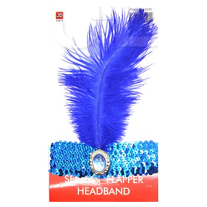 Sequin Flapper Headband - Blue
