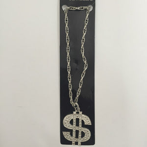Silver Dollar Sign Necklace