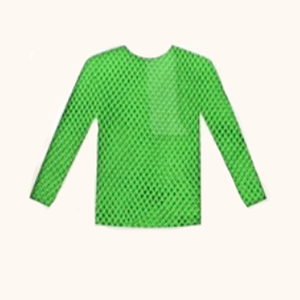 Long Sleeve Fishnet Top Green Neon