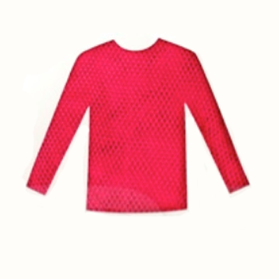 Fishnet Top Long Sleeve - Neon Hot Pink