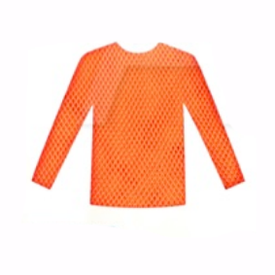 Fishnet Top Long Sleeve - Neon Orange