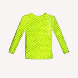 Long Sleeve Fishnet Top Yellow Neon