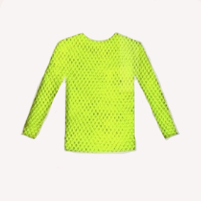 Fishnet Top Long Sleeve - Neon Yellow
