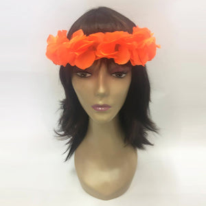 Neon Orange Floral Hawaiian Headband