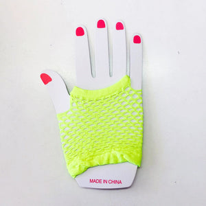 Neon Yellow Fishnet Gloves Short