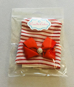 Cradle Cuties Hat  Red Bow