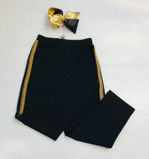 Mini Molly Black Tux Pant Gold Stripe