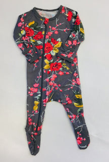 Bestaroo Romper Footie Cherry Blossom Charcol