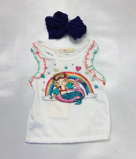 Baby Sara Mermaid Float Graphic Ruffle Top