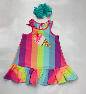 Baby Sara Ice Cream   Patch Rainbow Dress