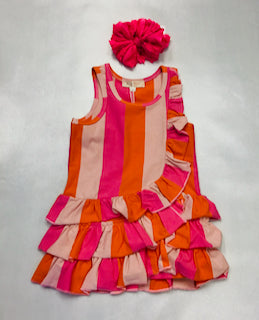 Baby Sara Asymmetrical Ruffle Stripe Dress