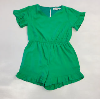 Mini Molly Woven Romper Green