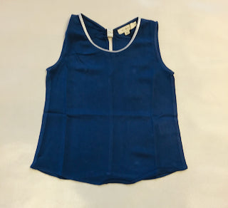 Mini Molly Silver Collared Tank Blue