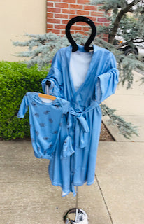 Queen Maddyn Dusty Blue Robe and Arrrow Gown Set
