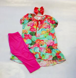Za Za Couture Flower Print Tunic Set