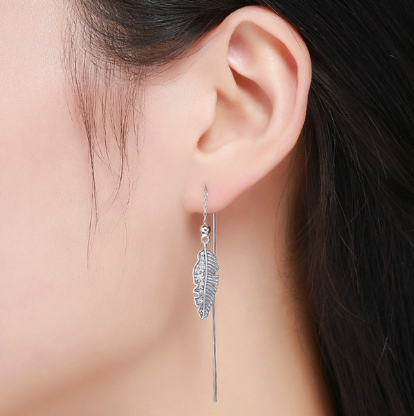 Glamourous Leaf Earrings (sbE281-SS)