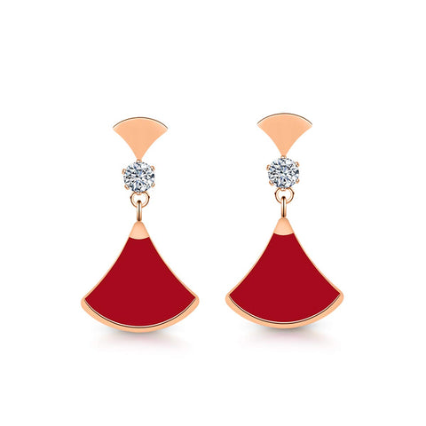 Red Flare Danggling Earring (T814)