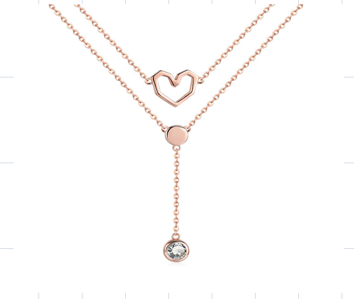 Dropdown Love Double Layered Necklace (SBN317)