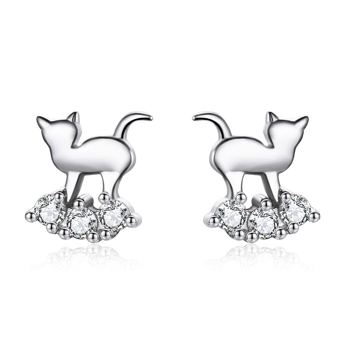 Diamond Kitty Earrings (SBE537-SS)